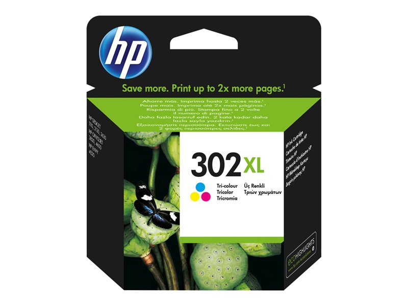 Tinta HP 302XL original F6U67AE tricolor