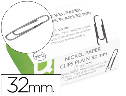 [KF01316] Clips nº2 32mm niquelados 100u q-connect